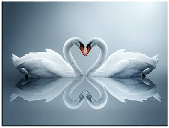 Romantic Swans Art Print Artwork Swan Canvas Wall Art Picture for Home Bedroom Bathroom Living Room Office Hotel Club Wall Decoration (Heart Swans, 12x16inch)
