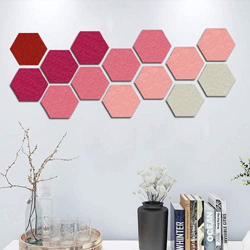 ERYUE 14 tablones de anuncios de fieltro para paredes, adhesivos de pared gruesos, con forma de hexágono, tableros de visión Eva, autoadhesivos, para fotos, tablones de pizarra