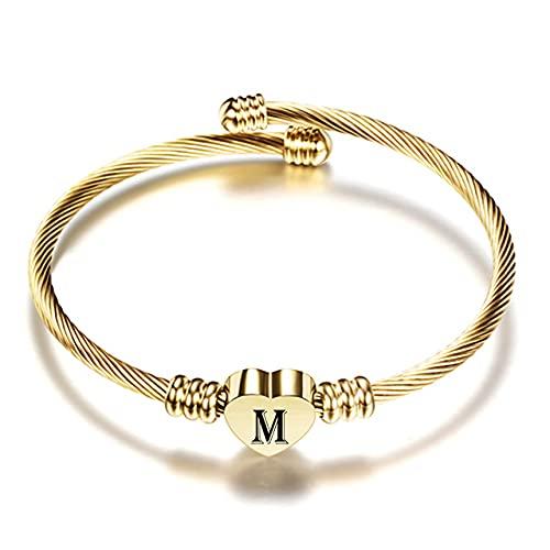 Brazalete de pulsera con letra AZ de corazón de acero inoxidable de color dorado para mujer, joyería, pulseras con dijes de alfabeto para mujer, M