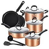 EPPMO Baterías de Cocina Inducción Antiadherente con Boquillas, Juego de cocinas de Aluminio Reforzado sin PFOA, Apta Para Todo Tipo de Cocinas, 12 piezas, Cobre