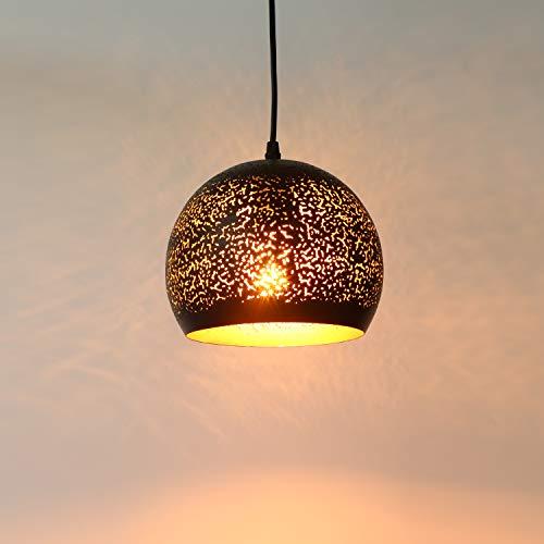 Asvert Pierced Pendelleuchte orientalische Lampe schwarzer Metallform Hängelampe reteo verstellbare Altmessing Hollow Deckenleuchte E27 für Café Bar Esstisch Kücheninsel Foyer Loft etc. Schwarz gold