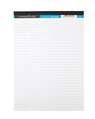 Cambridge - Bloc de notas A4, rayado con margen, 100 páginas, paquete de 10, color blanco