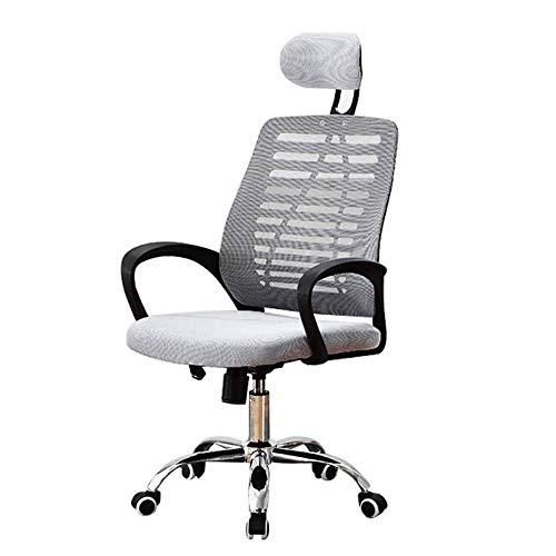 Ergonomische Mesh Verstelbare Home Desk Chair Office Chair Modern Ligstoel, draaistoel Conference Stoel met hoofdsteun (Color : Gray)