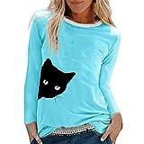 TUDUZ Camisas Mujer Manga Larga Blusas Impresión Tops Cuello Redondo Camisetas (Cielo Azul .h, S)