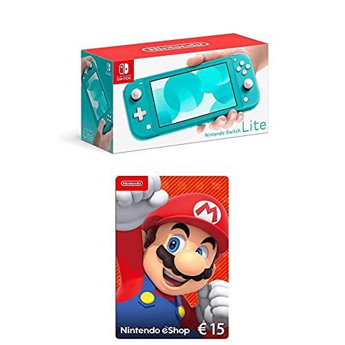 Nintendo Switch Lite, Standard, türkis-blau + Nintendo eShop Card | 15 EUR Guthaben | Download Code