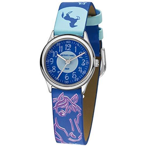 JACQUES FAREL Kinder-Armbanduhr Pferd Sterne lila-blau Analog Quarz Metall Kunstleder HCC 338