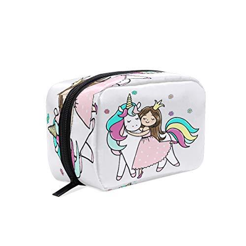 BKEOY Trousse de maquillage avec motif de licorne et de princesse
