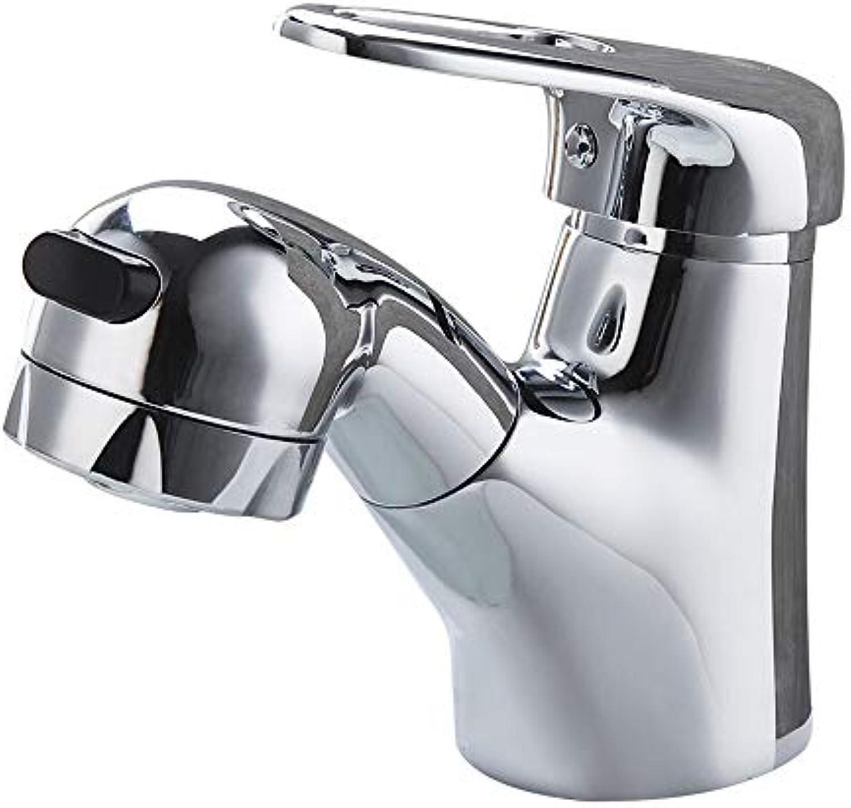 WHYDIANPU Ausziehbarer Wasserhahn aus Kupfer, Waschbecken, Waschbecken, Wasserhahn, Wasserhahn, Waschbecken Haus tippen