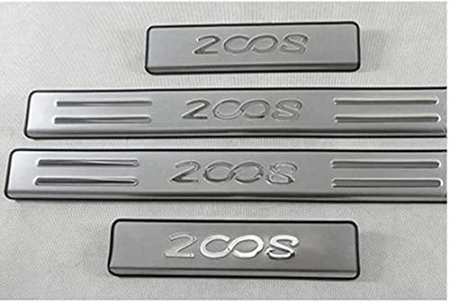 Umbrales automotrices, paneles de puertas laterales de acero inoxidable para accesorios Modelo Peugeot 2008 2014-2017 Placa de acero inoxidable para puertas laterales para listones de umbral de coche,