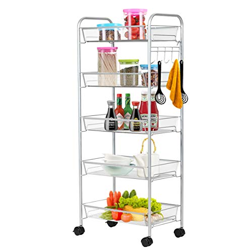 Giantex 5-Tier Storage Cart Rolling Trolley Organizer Utility Cart with Lockable Wheels, 5 Hooks, Mesh Shelves for Home Kitchen, Bathroom, Office and Bedroom (Gray)