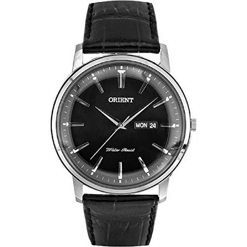 Orient Herren-Armbanduhr 43mm Armband Leder Schwarz Batterie Analog FUG1R002B6