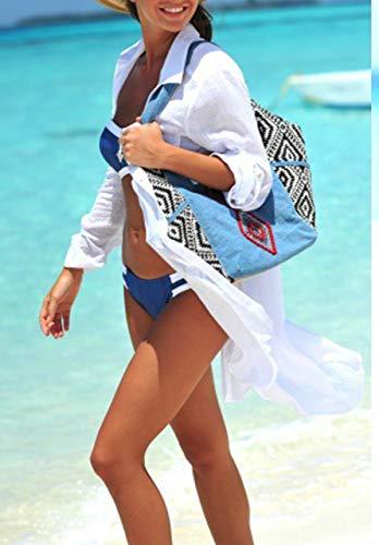 Vestidos Verano para Mujer Botón de Bolsillo Camisa de Playa Manga Larga Casual de Color Sólido