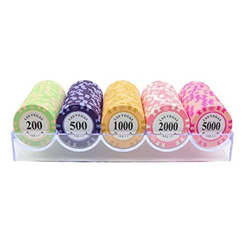 YZJJ Pokerset con 100-300 Chips láser Juego de póquer 14 Gramos núcleo de Metal, Incluyendo póker, Set, fichas de póquer, Maletas, Juego de Póquercon