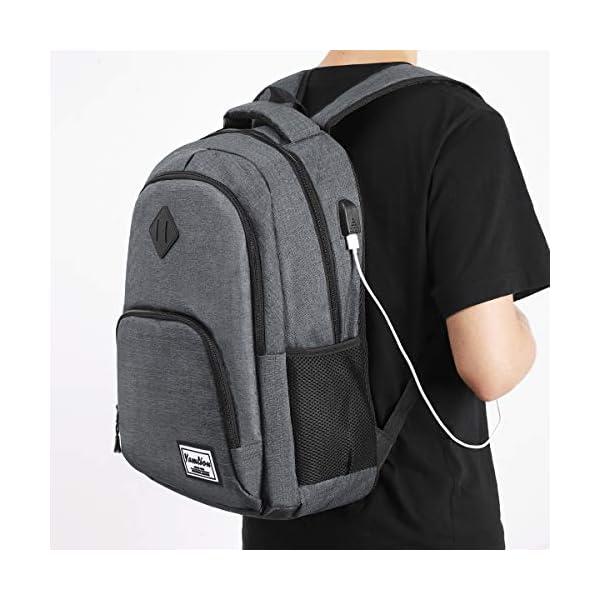 YAMTION Mochilas Escolares Juveniles,Mochila para portátil con Puerto de Carga USB,para Escolar Negocio Trabajo