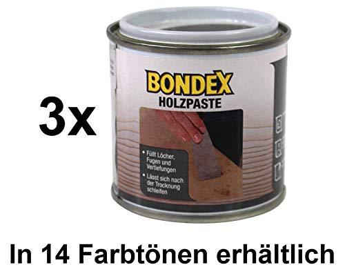Bondex Holzpaste Holzkitt Reparaturpaste zum ausbessern von Risse Löcher Kratzer Laminat Parkett Möbel und Holz (3x 150g Dose, erle)