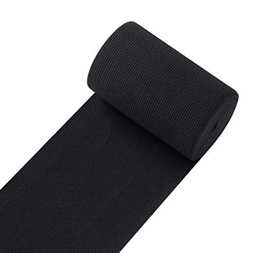 Knit Elastic Bands for Sewing Black Heavy Stretch High Elasticity Flat Elastic Cord 4 Inch Wide Braided Elastic Spool 3 Yard