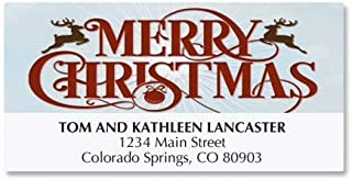 Merry Christmas Personalized Holiday Return Address Labels- Set of 48, Large Self-Adhesive, Flat-Sheet Labels