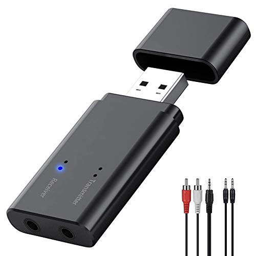 Adattatore Bluetooth 5.0 USB Trasmettitore Ricevitore 2 in 1 Mini Wireless Audio Portatile Dongle con RCA & 3.5mm AUX Plug And Play per TV PC Autoradio Cuffie Proiettore Laptop Tablet Impianto Stereo