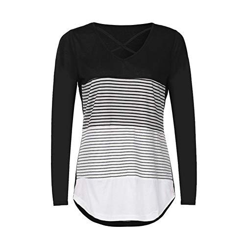 Langärmliges T-Shirt Mit Gestreiften Nähten Für Damen
