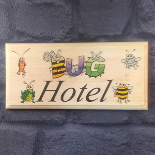 Bug Hotel Plaque/Sign/Gift/Handmade Garden Children Insects Bugs Bee Butterfly Ant Ladybird Shed