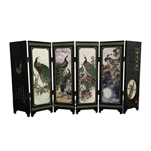 WCHAODING Im chinesischen Stil aus Holz Dekorative Bildschirm 6-Panel-Peacock Folding Screen Raumteiler Faltwand Screens Dekoration for Haus (Color : Black)