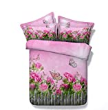 Set De Funda Nórdica Jardín Rosa 3D-trapunta de polialgodón Estampado, Funda Nórdica y Fundas de Almohada de algodón 220cm x 240cm