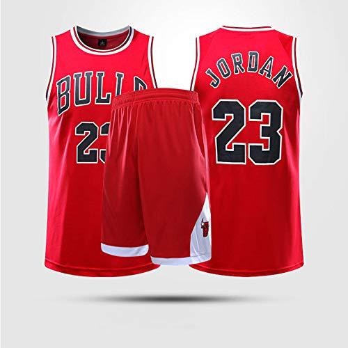 Trajes De Baloncesto Para Niños, Chicago Bulls # 23 Michael Jordan NBA Basketball Jerseys Chalecos Informales Camisetas Tops Deportivos Chalecos Deportivos + Pantalones Cortos,Rojo,L(Adult)160~165CM