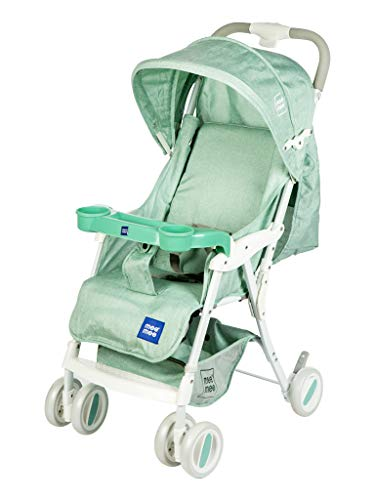 Mee Mee Baby Pram with Adjustable Seating Positions and Reversible Handle (Green and Yellow)