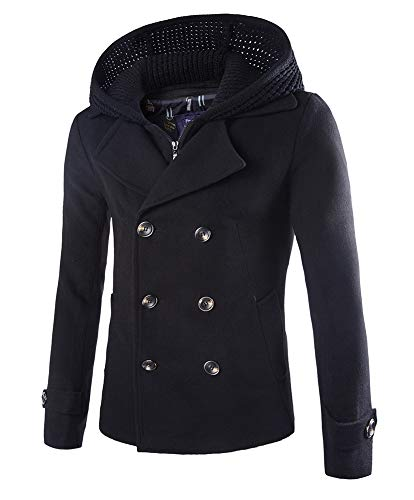Mens Stylish Fashion Classic Wool Double Breasted Pea Coat with Removable Hood (D116 Black,L)