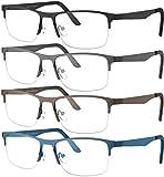 Yogo Vision Reading Glasses for Men and Women Rectangle Half-Rim Metal Readers +2.5