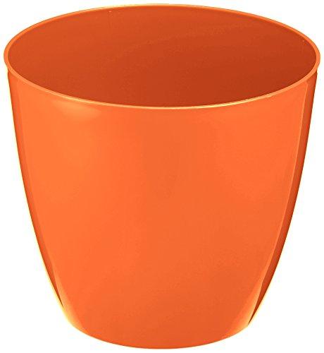 Plastkon Déco Pot Decorative Flower Pot Ella Brillant Diamètre 21 cm, Orange
