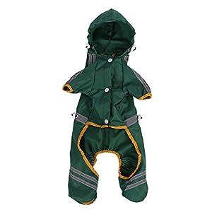 Manteau Chien Impermeable Moyen Veste Chat Capuche Pluie Réglable avec Bande Réfléchissante Jumpsuit Vêtements en plein Air