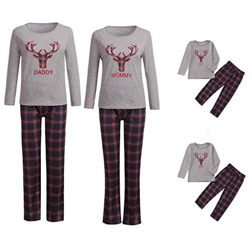 BaZhaHei Navidad Conjunto Traje Mamá Papá Tops Pantalones Pijamas Familiares Ropa de Dormir Navidad de Santa Conjunto de Pijama casero de Manga Larga Estampado para Padres e Hijos en el hogar