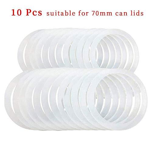 Klebebanddichtungen, 10PCS Wiederverwendbare Silikondichtungen Kunststoff-Aufbewahrungsdeckel Dichtungen für auslaufsichere Einmachglasdeckel Klebebanddichtungen