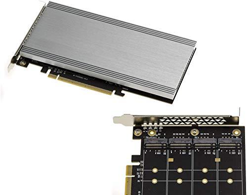 Controller-Karte PCIe 3.0, 16 x für 4 SSD M.2 NVMe M Key (M2 NGFF), Chipsatz Switchtec PFX-L 32 x G3, kompatibel mit den Modi ohne Verzögerung und Bifurcation