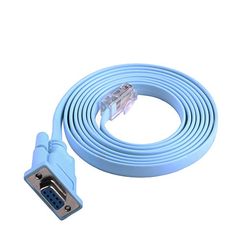 Network Equipment Console Cable for Cisco/Juniper/NETGEAR/Ubiquity/LINKSYS/TP-Link Routers, Switches and Firewall Equipment,DB9 to RJ45 RS232 Console Cable (6FT, DB9)