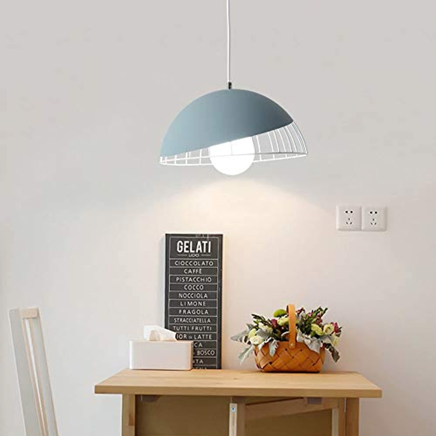 YAYONG Chandelier Restaurant Modern Minimalist Nordic Creative Table Lamp Round LED Macaron Pendant Light,Blau