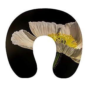 Almohada Cervical Viaje, U Shape Cojin Cuello Viscoelastica, Almohada Antironquidos, Almohada Ortopédic, para el Aeroplano, el hogar, el Oficina (Flor Blanca)