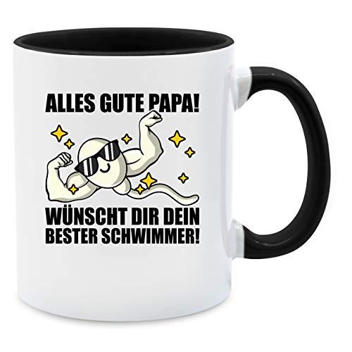 Vatertagsgeschenk Tasse - Alles Gute Papa! Wünscht dir Dein Bester Schwimmer - schwarz - Unisize - Schwarz - Tasse Bester Schwimmer Papa - Q9061 - Tasse für Kaffee oder Tee