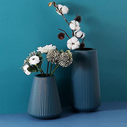 Queta Vase à Fleurs, Vases de Fleurs, Ensemble de 2 Vase Decoratif Modernes Vase Nordique en Plastique pour Décoration de la Maison, du Salon, des Centres à Table , Décoration de Mariage (Bleu)