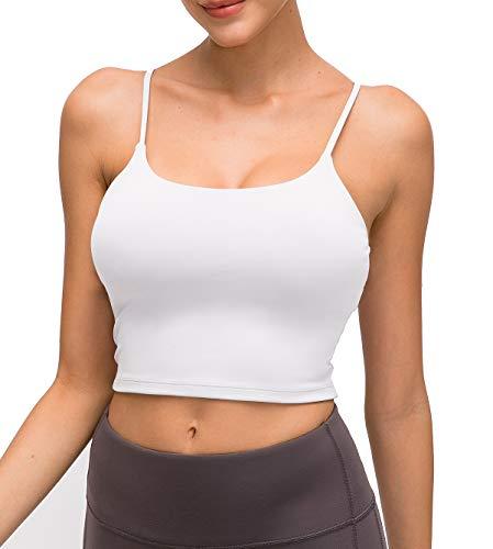 STARBILD Damen Sport BH Gepolstert Bustier Damen BH ohne Buegel Spaghettiträger Push up BH Sport Bra Top für Yoga Fitness,Weiß,S