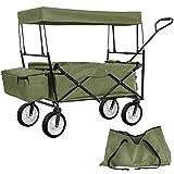 TecTake Chariot pliable avec toit amovible charrette de transport à tirer main - diverses couleurs au choix - (Vert | No. 402317)