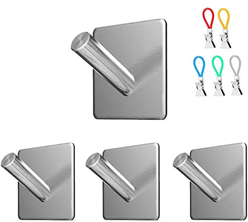 Guukin Wall Hooks Heavy Duty Adhesive Hangers 20lb, Nail Free, Rustproof Waterproof and Oilproof, Great for Kitchen Bathroom Home Door Closet Cabinet, Stainless Steel, 4 Packs with 5 Tea Towel Clips