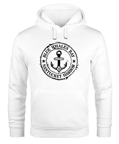 Neverless Hoodie Herren maritimes Anker Motiv Anchor Print Vintage Stil Kapuzen-Pullover Männer weiß XXL