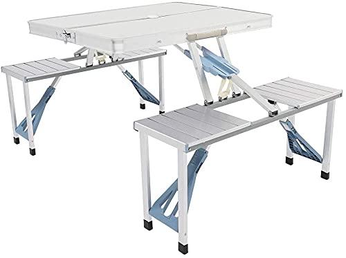 旅行キャンプ屋外シルバー用に設定された4席の傘穴の椅子が付いている折り畳み式のピクニックテーブルスーツケース