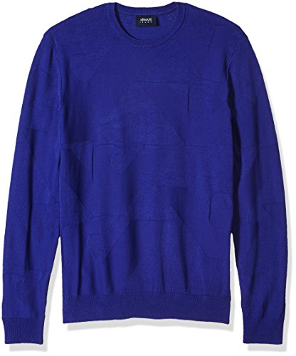 Armani Jeans Herren Pullover mit Adler-Logo, Übergröße - Blau - Klein
