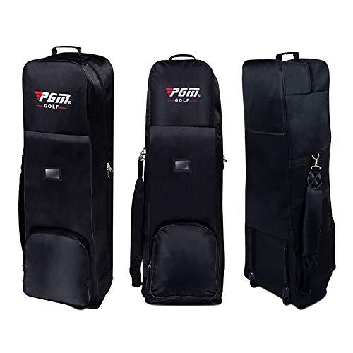 CRESTGOLF - Borsa da golf da viaggio, molto resistente e impermeabile, portatile, imbottita, pieghevole, con ruote, Nero