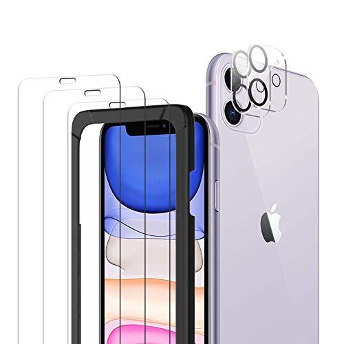 TopACE Schutzfolie Kompatibel mit iPhone 11 Panzerglas 6.1Zoll(3 Stück)+ Kamera Panzerglas(2 Stück), Mit Positionierhilfe, 9H Härte, HD Klar Glas Displayschutzfolie Kratzen, Blasenfrei