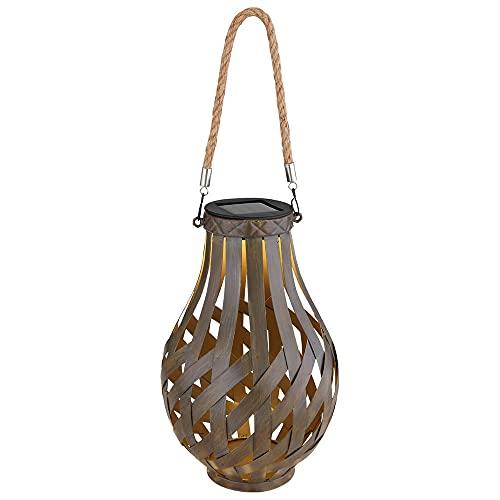 Gartendeko Laterne Solar Windlicht mit Bambusgeflecht zum Aufhängen oder Hinstellen, LED warmweiß, DxH 27x17,5 cm, Garten Terrasse