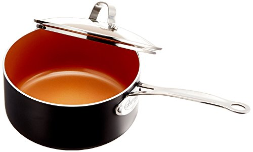 Gotham Steel Nonstick 3Quart Stock Pot with Ceramic and Titanium Copper Surface and Tempered Glass Lid – Dishwasher Safe